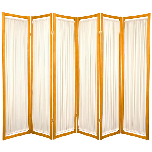 Oriental Furniture 6-Foot Tall Helsinki Shoji Screen - 6 Panel - Honey