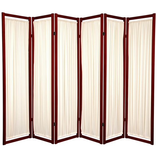 6-Foot Tall Helsinki Shoji Screen - 6 Panel - Rosewood