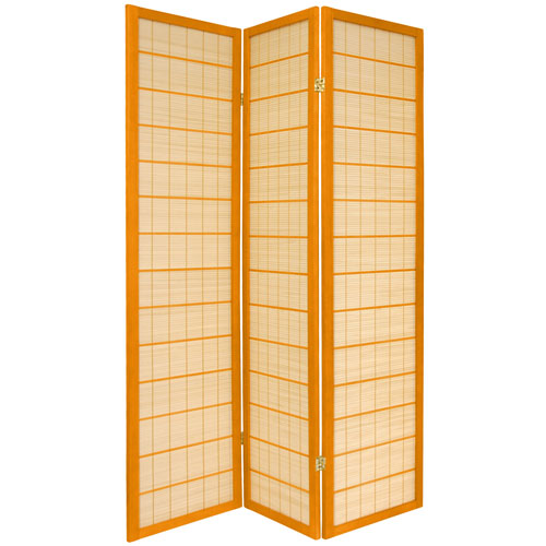 Oriental Furniture 6-Foot Tall Kimura Shoji Screen - 3 Panel - Honey