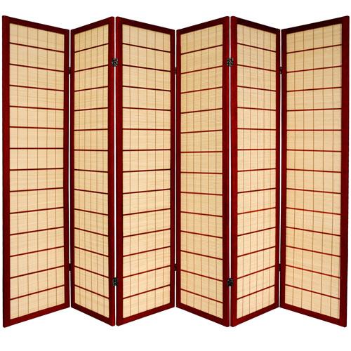 6-Foot Tall Kimura Shoji Screen - 6 Panel - Rosewood