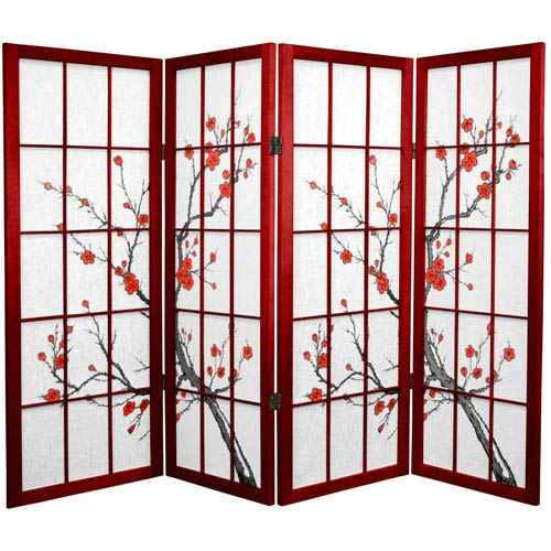 4 ft. Tall Cherry Blossom Shoji Screen - Rosewood - 4 Panels