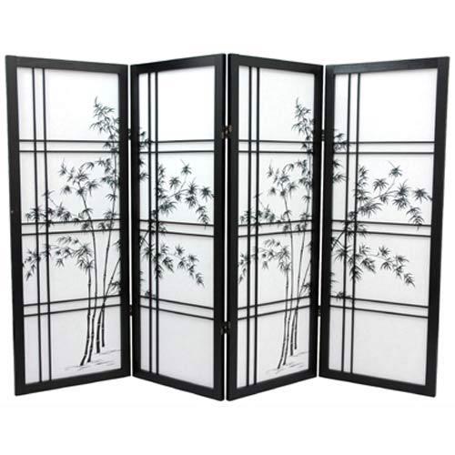 Black Four-Panel 48-Inch Low Bamboo Tree Shoji