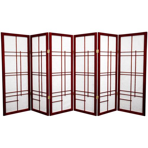 4-Foot Tall Eudes Shoji Screen - Rosewood - 6 Panels