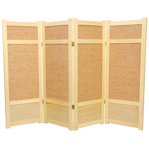 Natural Four-Panel 48-Inch Low Jute Shoji Screen