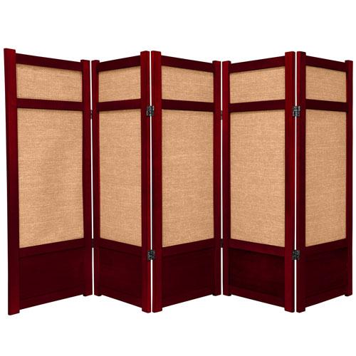 4 ft. Tall Low Jute Shoji Screen - 5 Panel - Rosewood