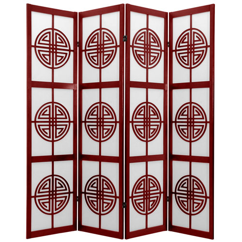 6-Foot Tall Long Life Shoji Screen - 4 Panel - Rosewood