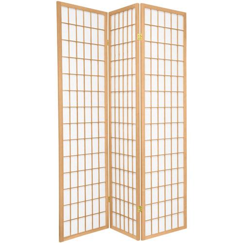 6-Foot Tall Window Pane Shoji Screen - Natural - 3 Panels