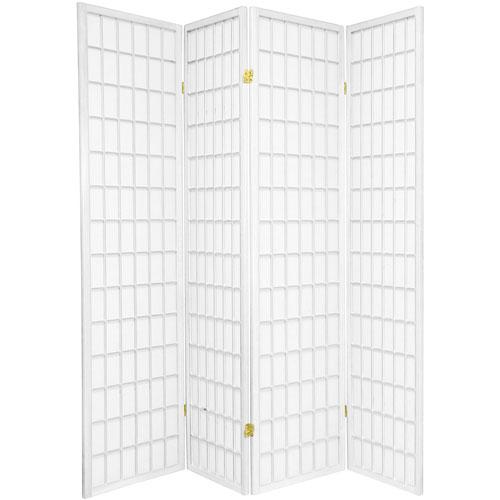 Oriental Furniture 6-Foot Tall Window Pane Shoji Screen - White - 4 Panels