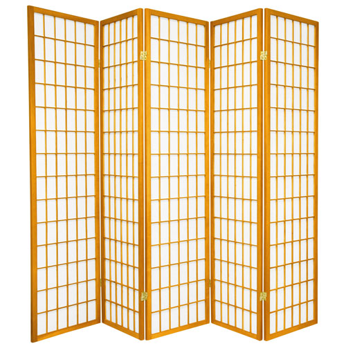 6-Foot Tall Window Pane Shoji Screen - Honey - 5 Panels