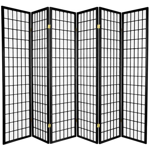6-Foot Tall Window Pane Shoji Screen - Black - 6 Panels