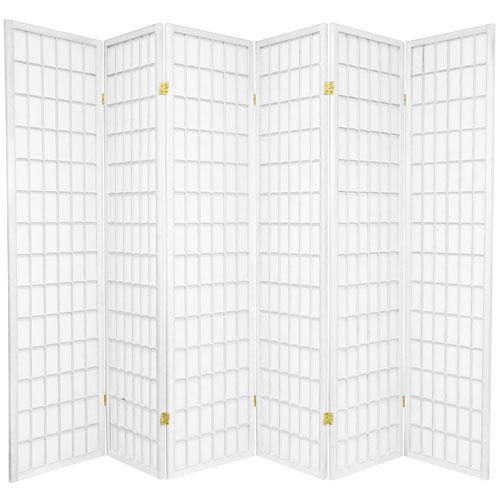 6-Foot Tall Window Pane Shoji Screen - White - 6 Panels