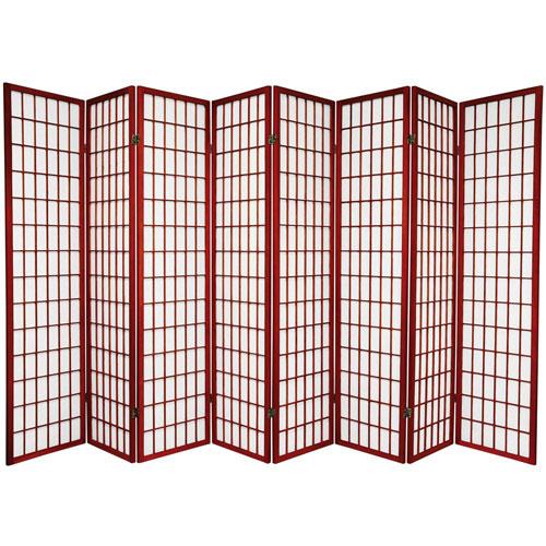Window Pane Shoji Screen - Eight Panel Rosewood, Width - 136 Inches