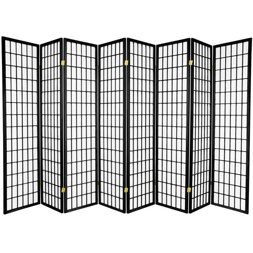6-Foot Tall Window Pane Shoji Screen - Black - 8 Panels