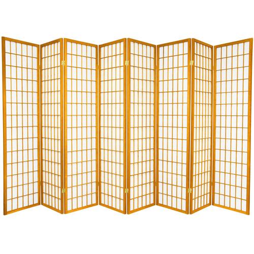 6-Foot Tall Window Pane Shoji Screen - Honey - 8 Panels