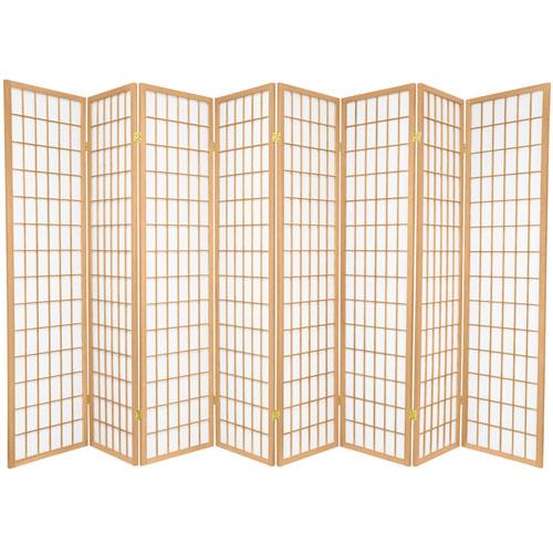 6-Foot Tall Window Pane Shoji Screen - Natural - 8 Panels