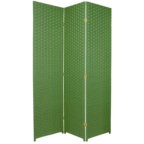 Six Ft Tall Woven Fiber Room Divider Three Panel Light Green Width 51