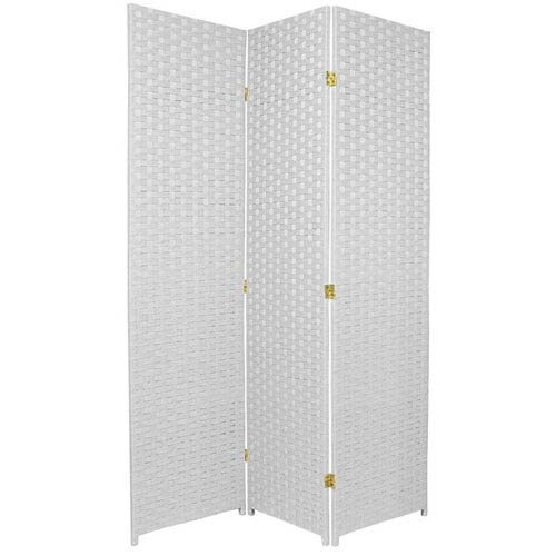 Oriental Furniture Six Ft. Tall Woven Fiber Room Divider Three Panel White, Width - 51 Inches