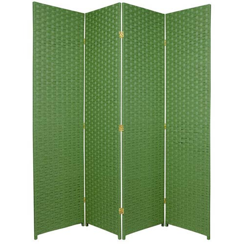Six Ft. Tall Woven Fiber Room Divider Four Panel Light Green, Width - 68 Inches