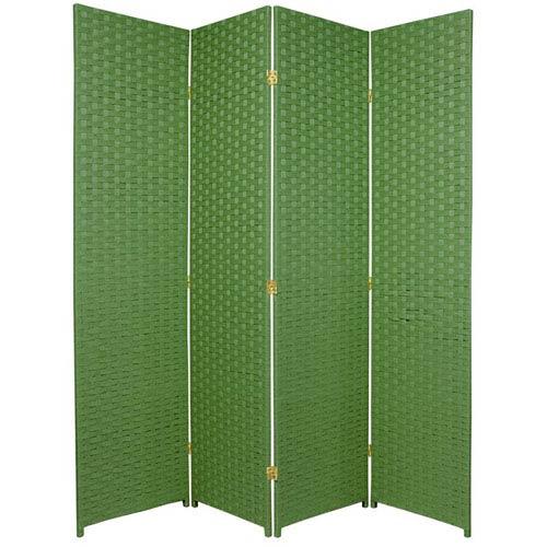 Six Ft. Tall Woven Fiber Room Divider Four Panel Light Green, Width - 68 Inches
