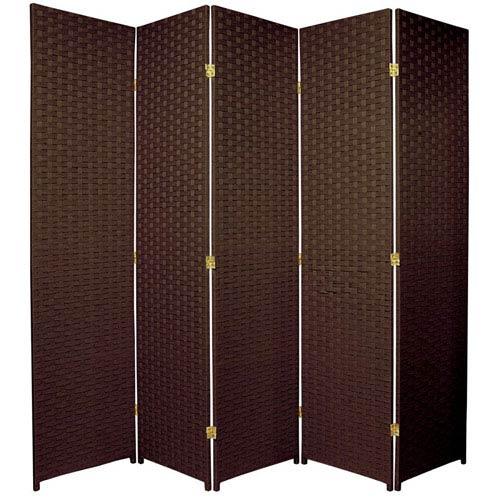 Oriental Furniture Six Ft. Tall Woven Fiber Room Divider Five Panel Dark Mocha, Width - 85 Inches