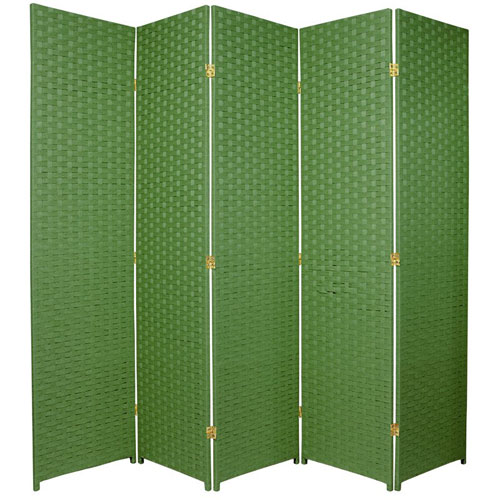 Six Ft. Tall Woven Fiber Room Divider Five Panel Light Green, Width - 85 Inches