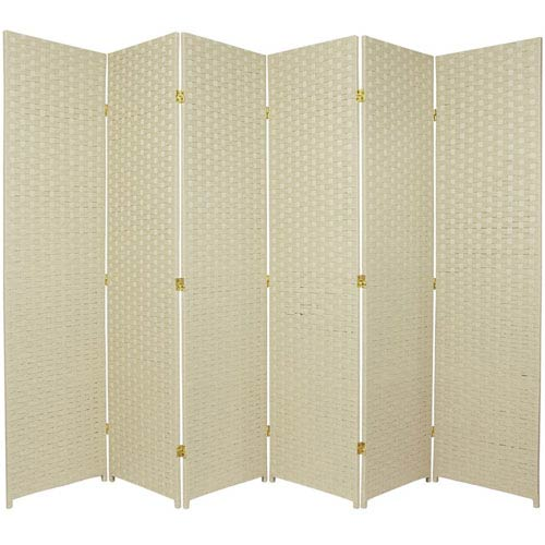 Six Ft. Tall Woven Fiber Room Divider Six Panel Cream, Width - 102 Inches