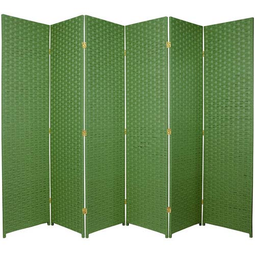 Six Ft. Tall Woven Fiber Room Divider Six Panel Light Green, Width - 102 Inches
