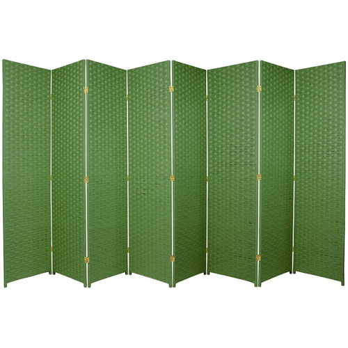 Six Ft. Tall Woven Fiber Room Divider Eight Panel Light Green, Width - 136 Inches