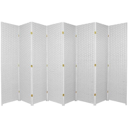 Oriental Furniture Six Ft. Tall Woven Fiber Room Divider Eight Panel White, Width - 136 Inches