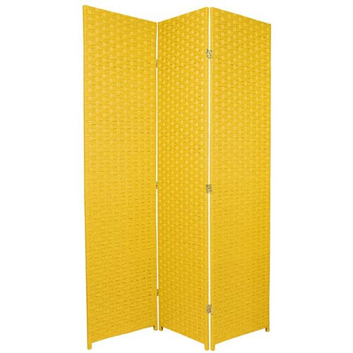 Six Ft. Tall Woven Fiber Room Divider - Special Edition Goldenrod Three Panel, Width - 51 Inches