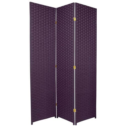 Oriental Furniture Six Ft. Tall Woven Fiber Room Divider - Special Edition Deep Purple Three Panel, Width - 51 Inches