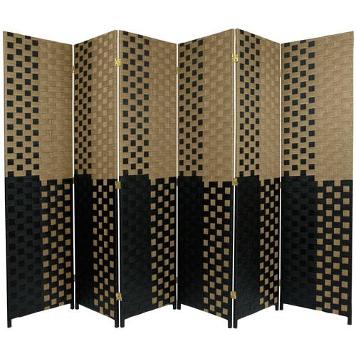 6 ft. Tall Woven Fiber Room Divider - Olive/Black - 6 Panel
