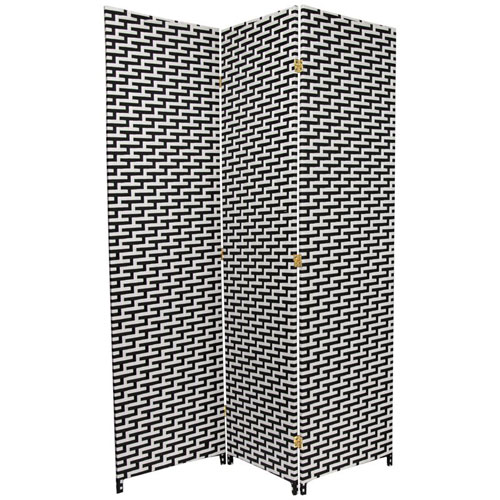 Oriental Furniture Six Ft. Tall Woven Fiber Room Divider - Black/White Three Panel, Width - 53.25 Inches