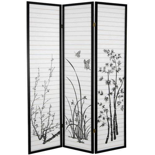 6 ft. Tall Bamboo and Blossoms Room Divider - 3 Panels