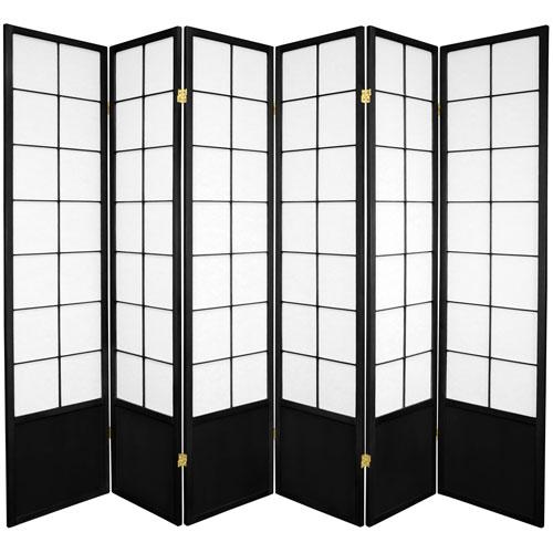 6-Foot Tall Zen Shoji Screen - Black-6 Panel