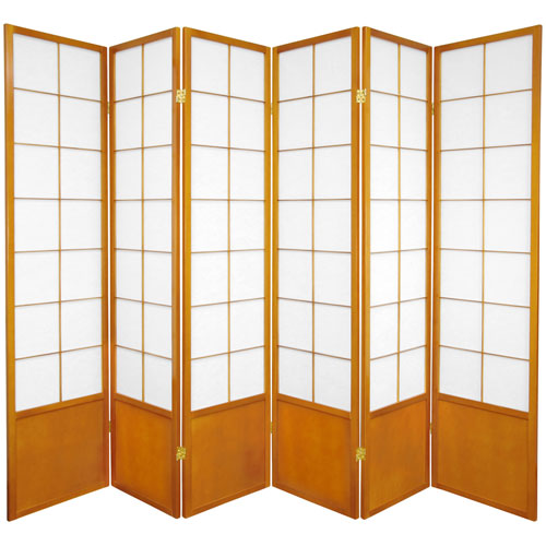 6-Foot Tall Zen Shoji Screen - Honey - 6 Panels