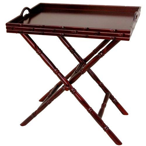 Oriental Furniture Rosewood Tea Tray with Trestle Stand, Width - 24 Inches