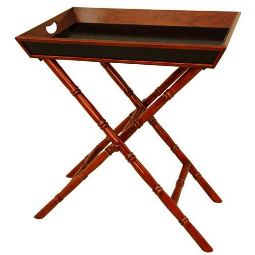 Bamboo Style Tea Tray with Trestle Stand, Width - 24 Inches