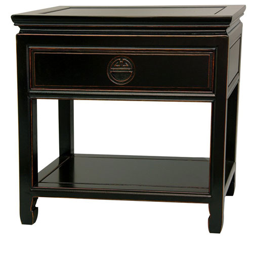Oriental Furniture Rosewood Bedside Table - Antique Black, Width - 22 Inches