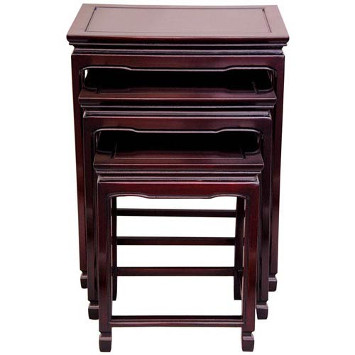 Rosewood Nesting Tables - Rosewood, Width - 20 Inches