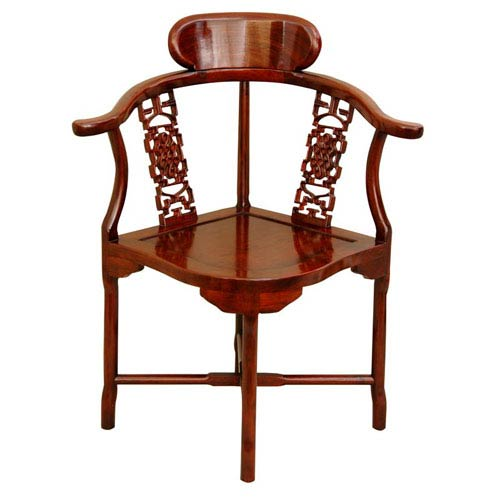 Oriental Furniture Rosewood Corner Chair - Honey, Width - 17 Inches