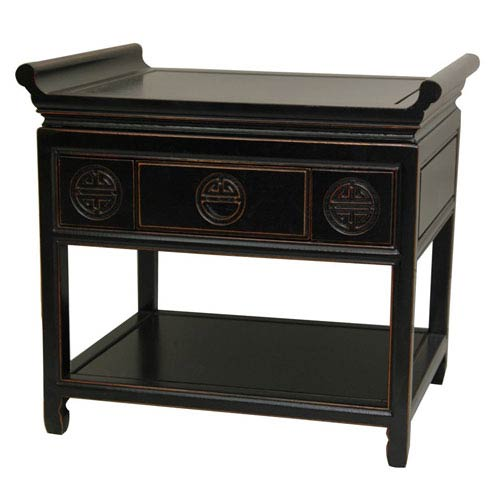 Oriental Furniture Rosewood Altar Table - Antique Black, Width - 24 Inches