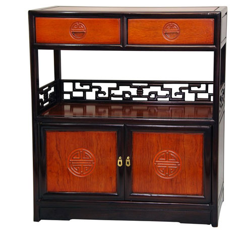 Oriental Furniture Rosewood Long Life Display Cabinet Two Tone Width 30 Inches