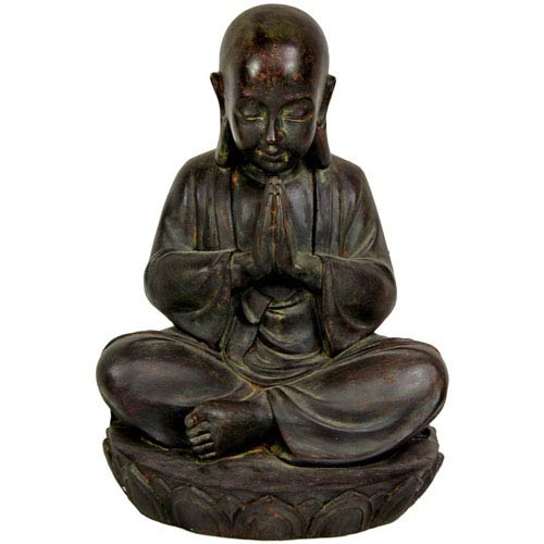 15 Inch Sitting Japanese Zen Monk Statue, Width - 11 Inches