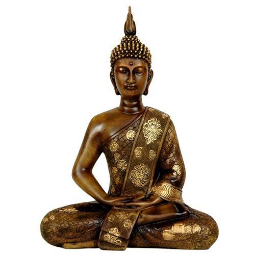 Brown 11-Inch Tall Thai Sitting Buddha Statue