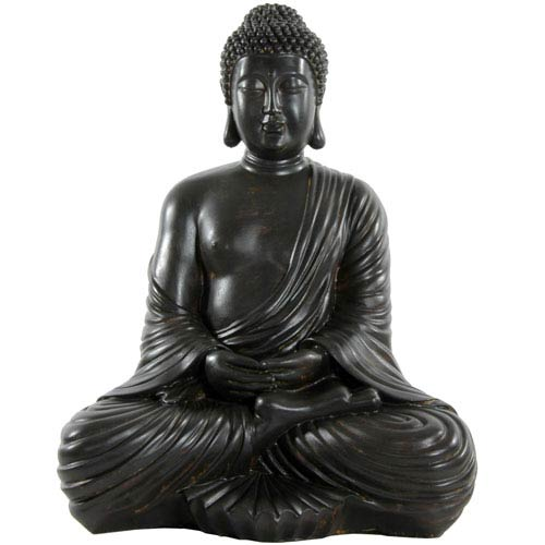 Oriental Furniture Large Japanese Sitting Buddha Statue, Width - 13 Inches