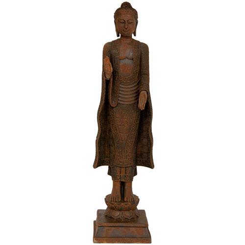 21 Inch Standing Semui - in Rust Patina Buddha Statue, Width - 5.5 Inches