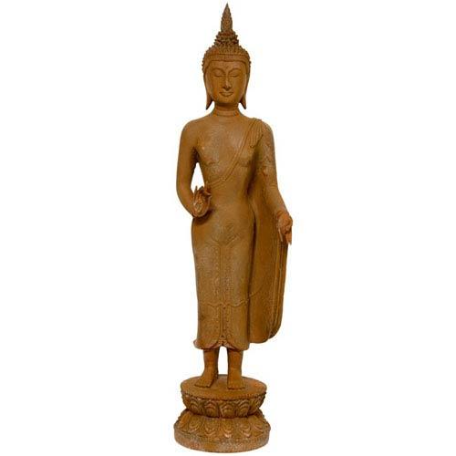 Oriental Furniture 21 Inch Thai Standing Gebon Rust Patina Buddha Statue, Width - 6 Inches