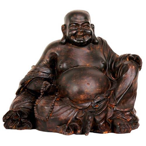 Brown 8-Inch High Sitting Laughing Buddha Statue