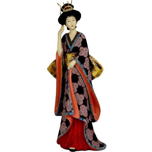 14 Inch Geisha Figurine w/ Ivory Flower Sash, Width - 4.5 Inches